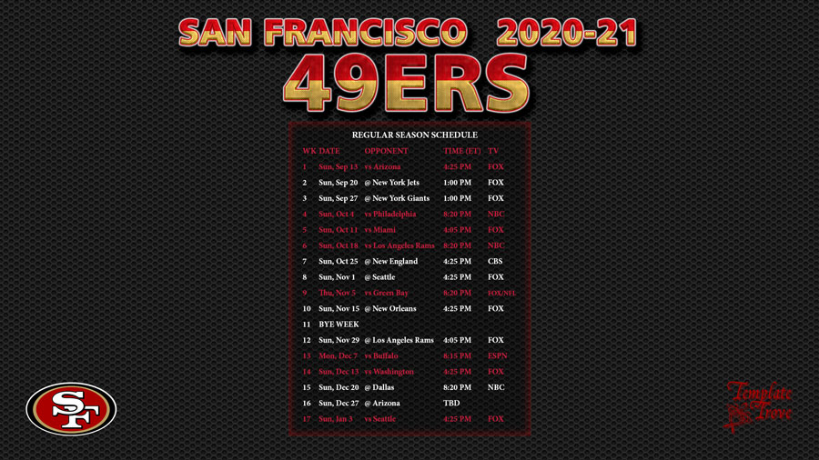 2020-2021 San Francisco 49Ers Wallpaper Schedule