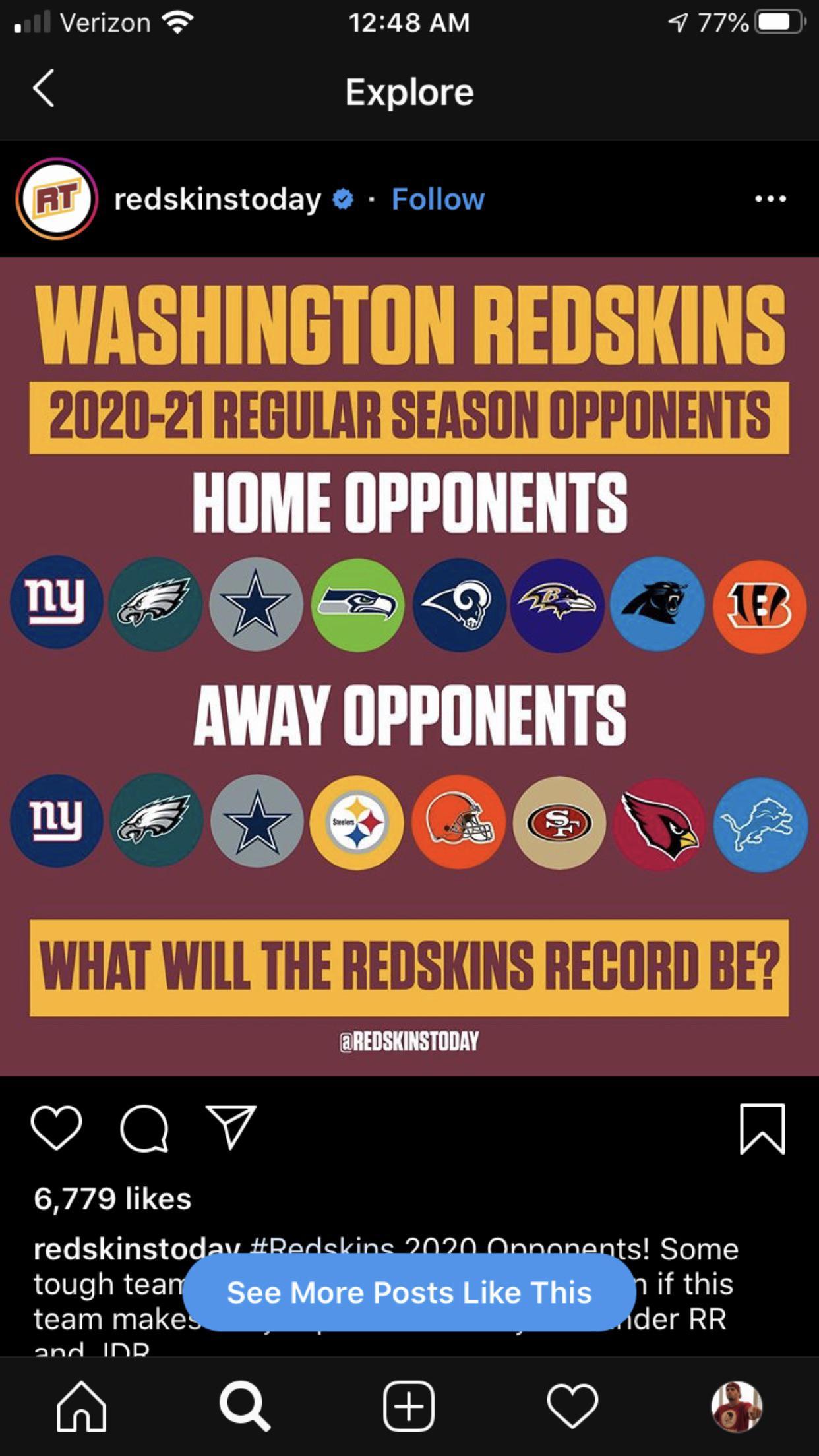2020-2021 Schedule : Redskins