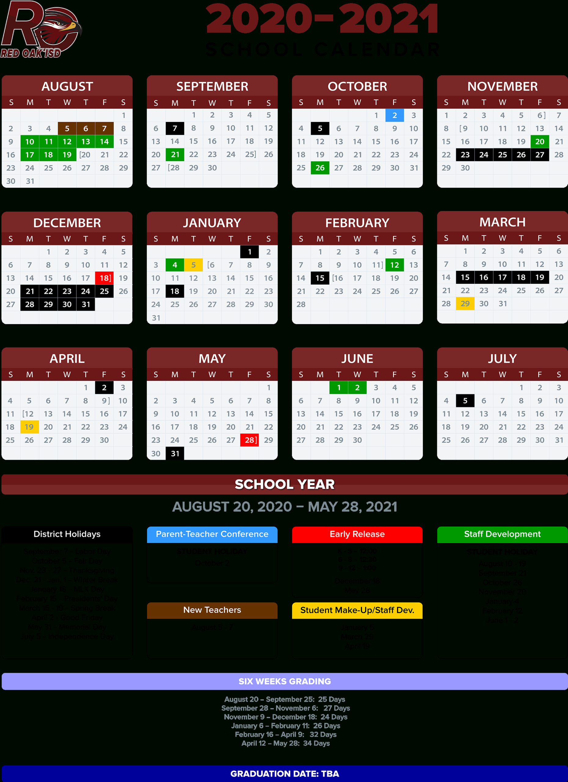 2020-2021 School Calendar / Annual Calendar - 2020-2021