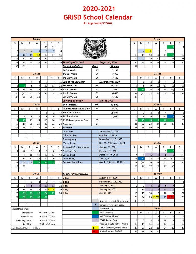 2020-2021 School Calendar - Glen Rose Isd