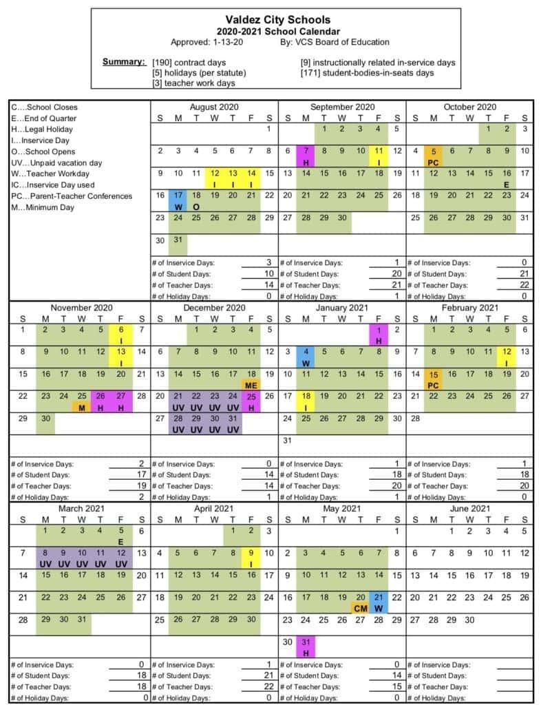 2020-2021 School Calendar Now Available Online | Kvak