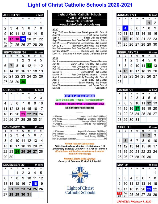 2020-2021 School Calendar - St. Mary'S Central High School
