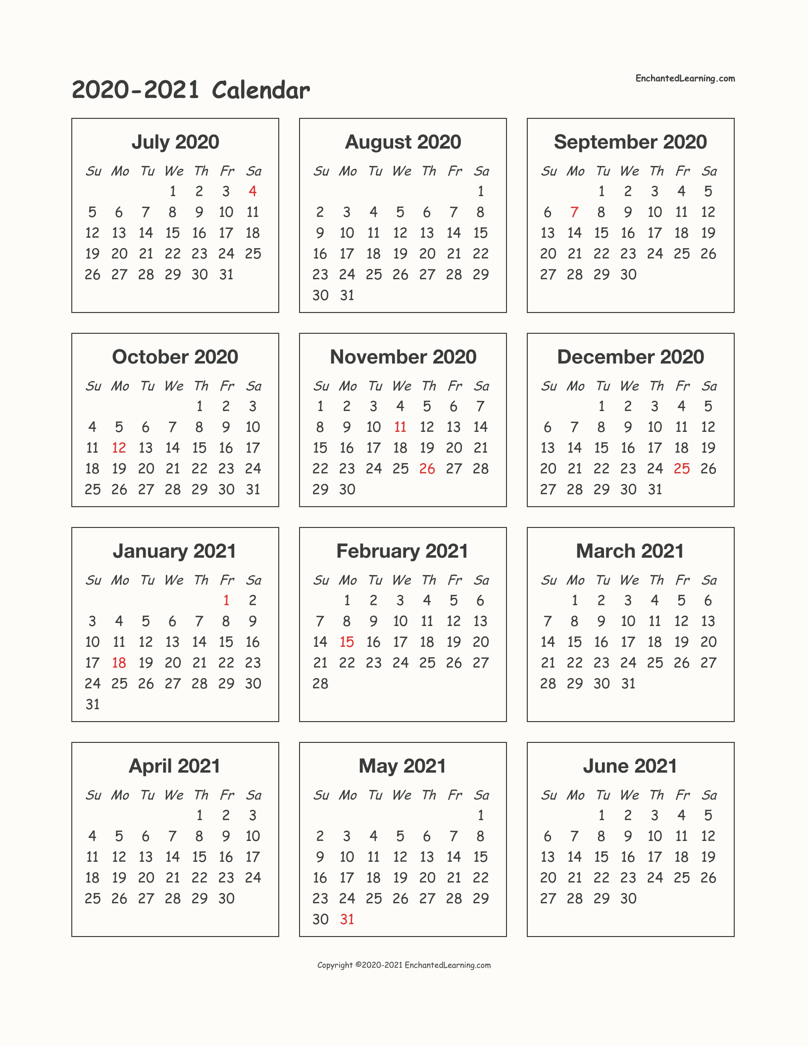 2020-2021 School-Year One-Page Calendar - Enchanted Learning