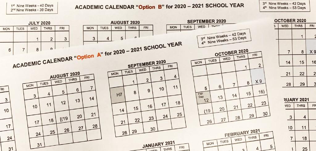 2020-2021 Student Academic Calendar Options