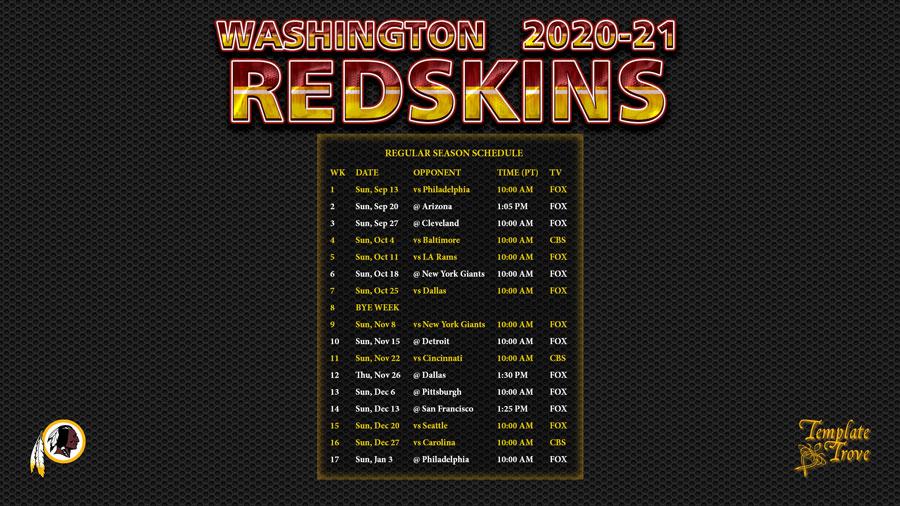 2020-2021 Washington Redskins Wallpaper Schedule