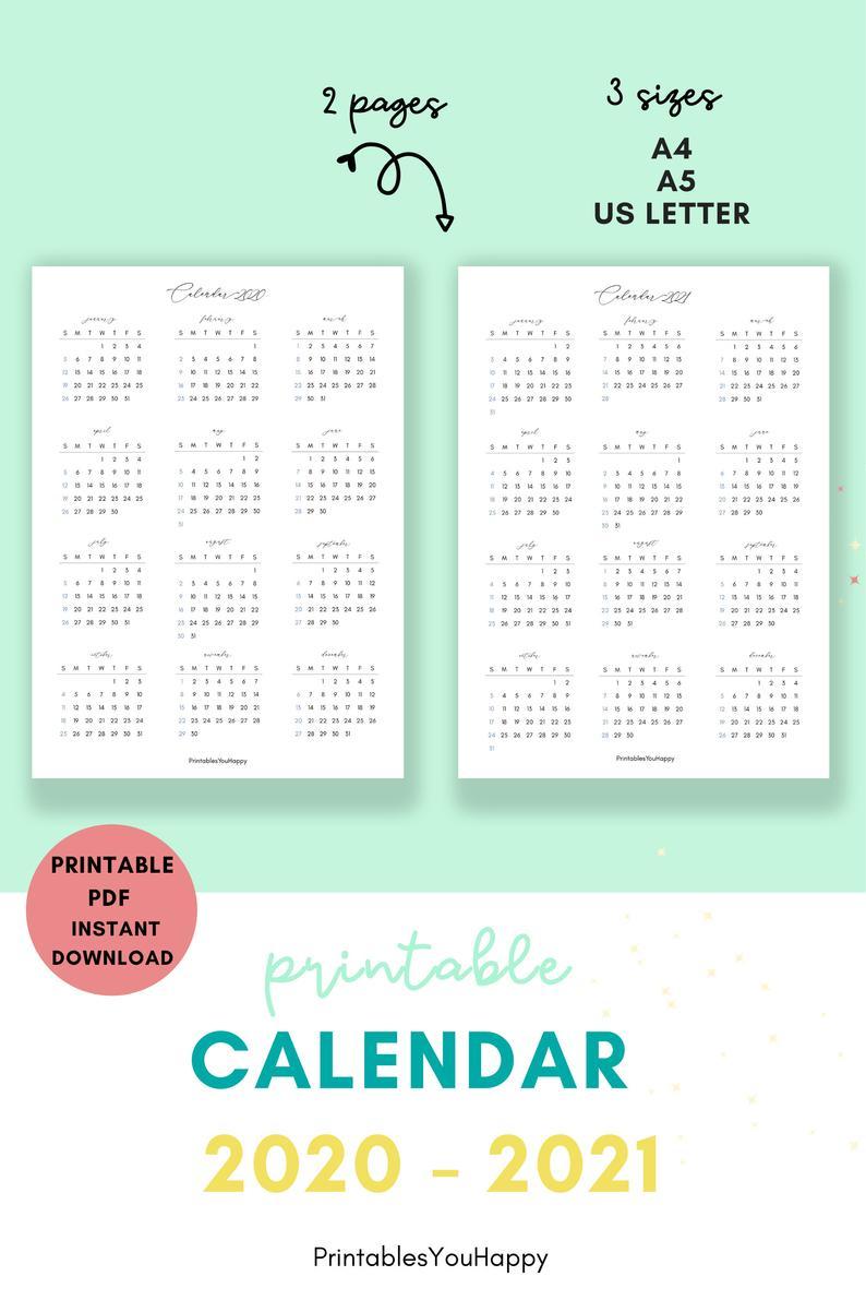2020 / 2021 Year At A Glance Calendar 2020 2021 Calendar