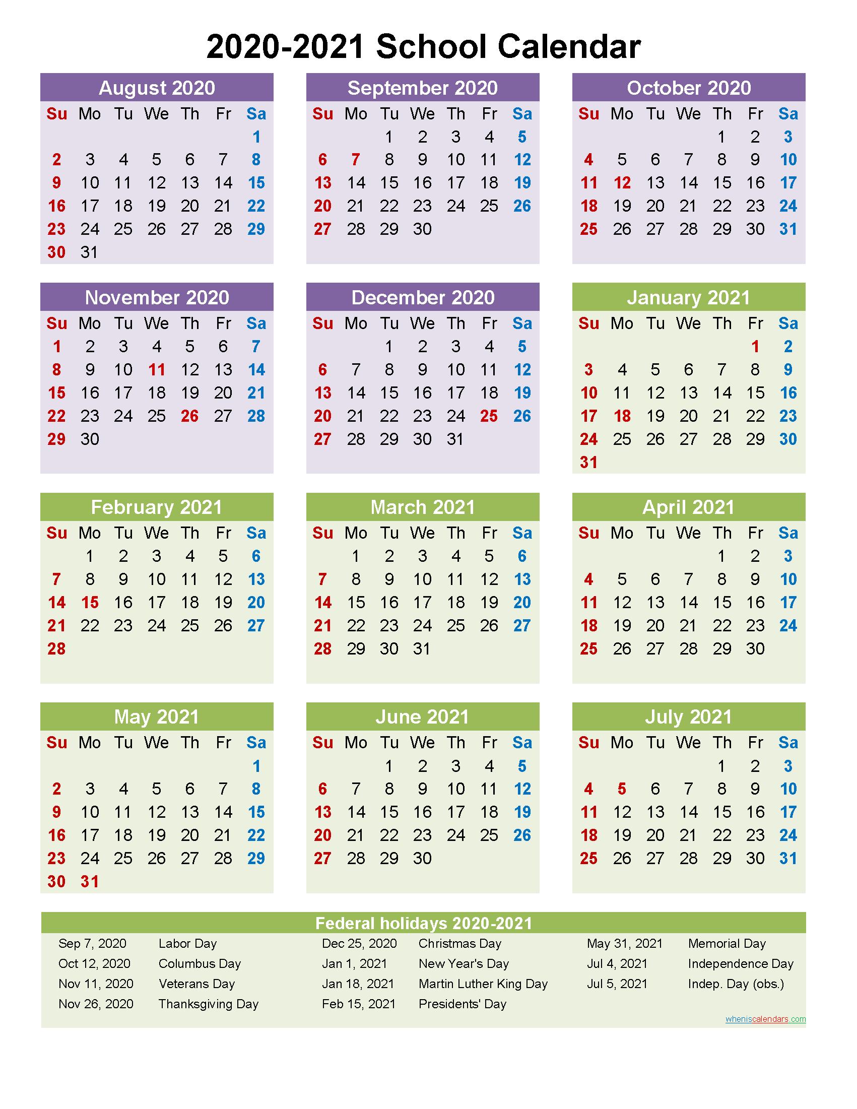 2020 And 2021 School Calendar Printable (Portrait