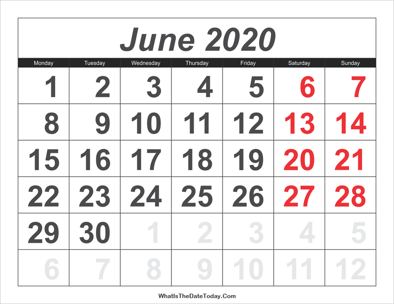 2020 Calendar June With Large Numbers | Whatisthedatetoday