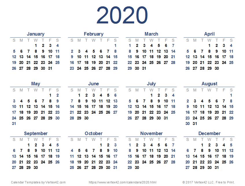 2020 Calendar (Printable Pdf) | Printable Calendar