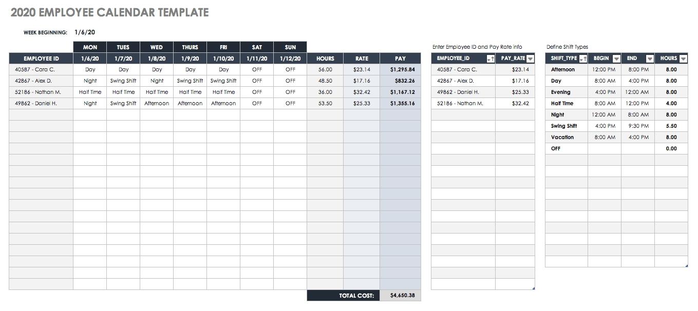 2020 Employee Attendance Calendar Templates | Calendar