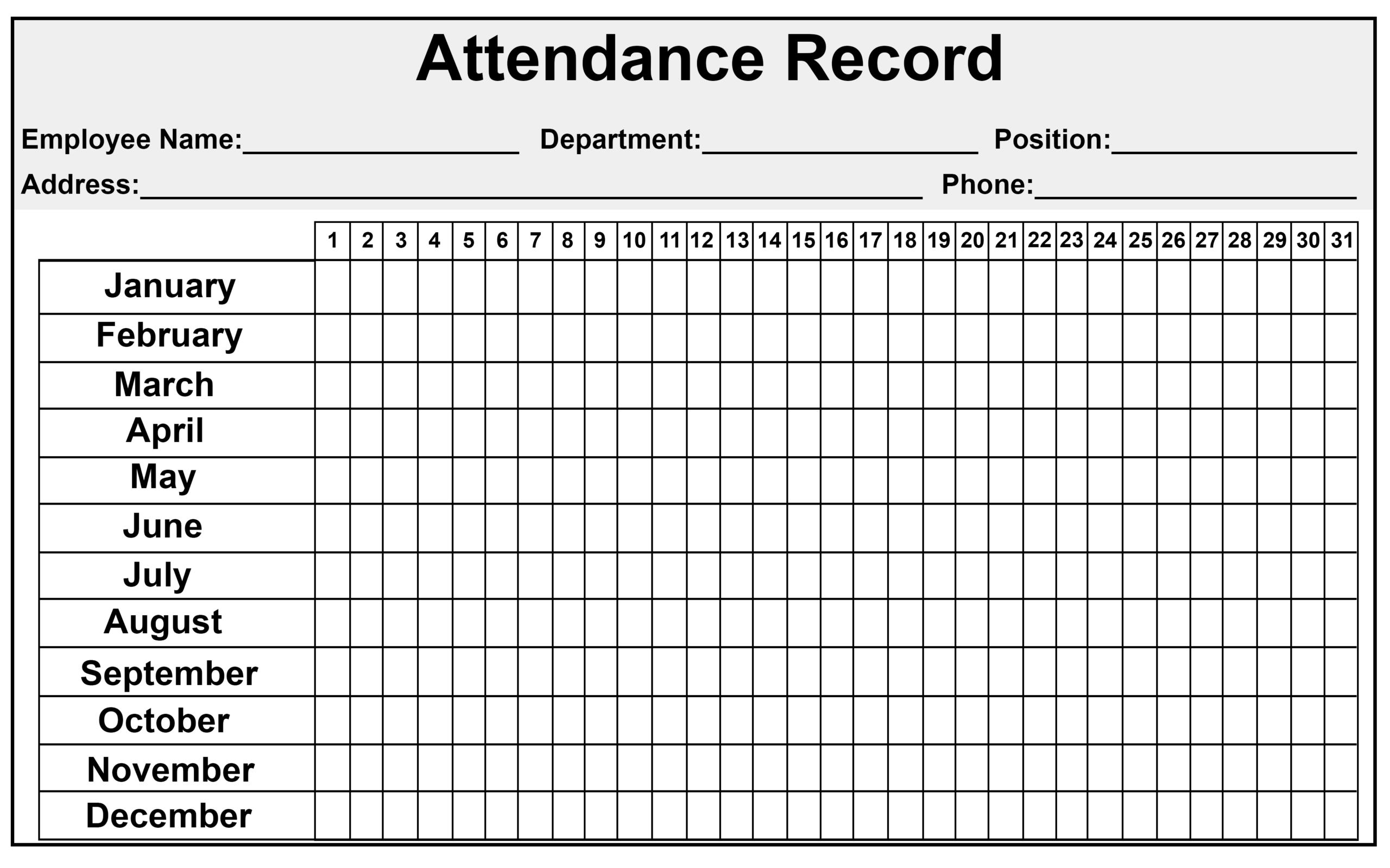 2020 Employee Attendance Tracker Printables Free | Example