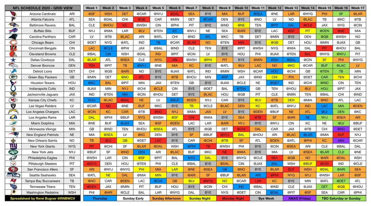 2020 Nfl Schedule Grid