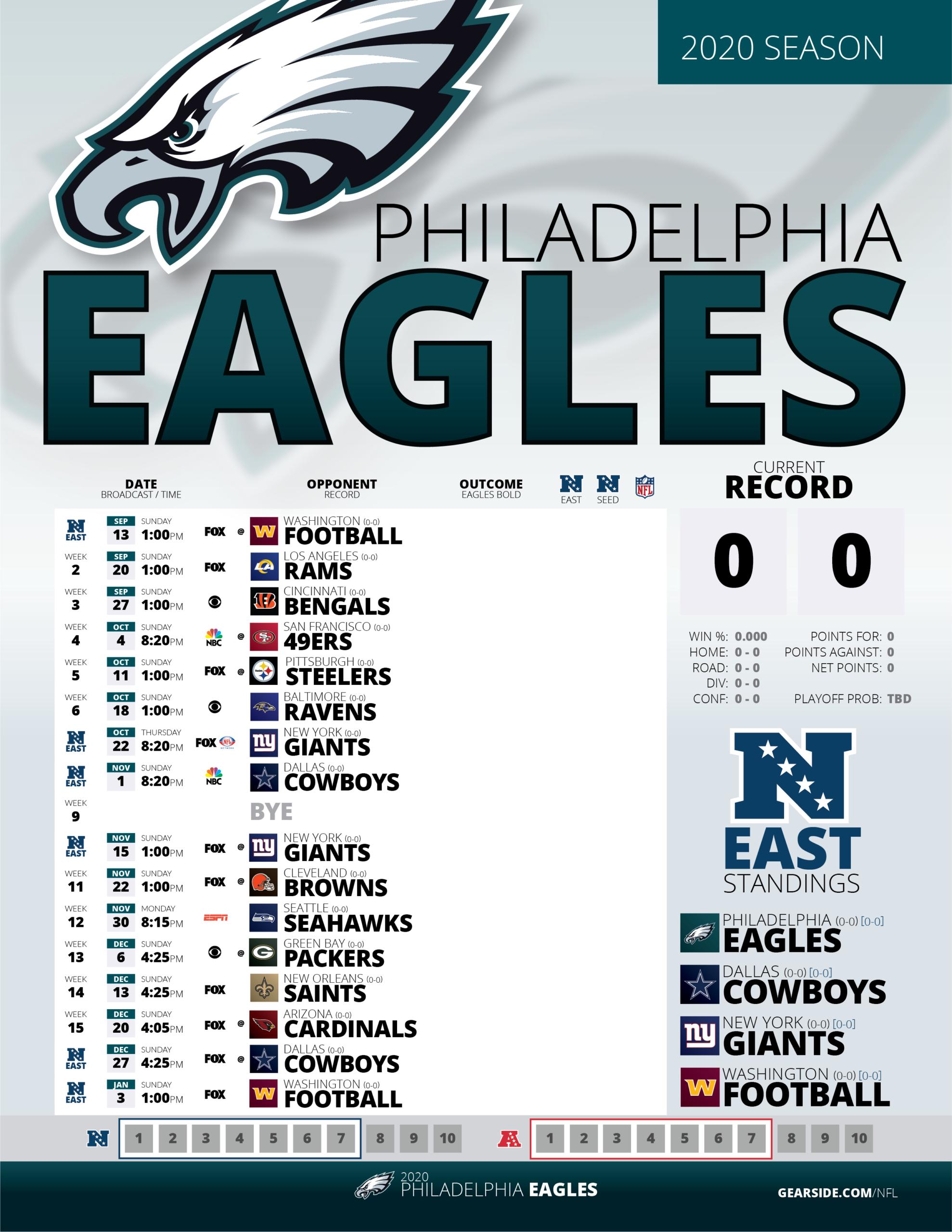 2020 Printable Eagles Schedule : Eagles