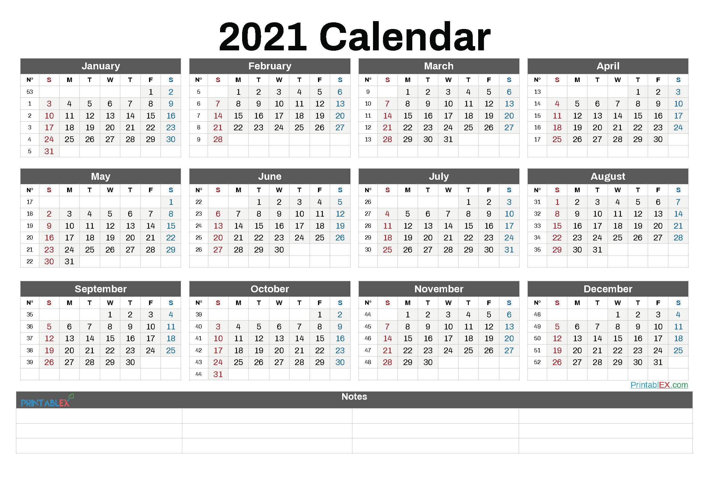 2021 2021 Calendar Printable - Calendar Printable Free