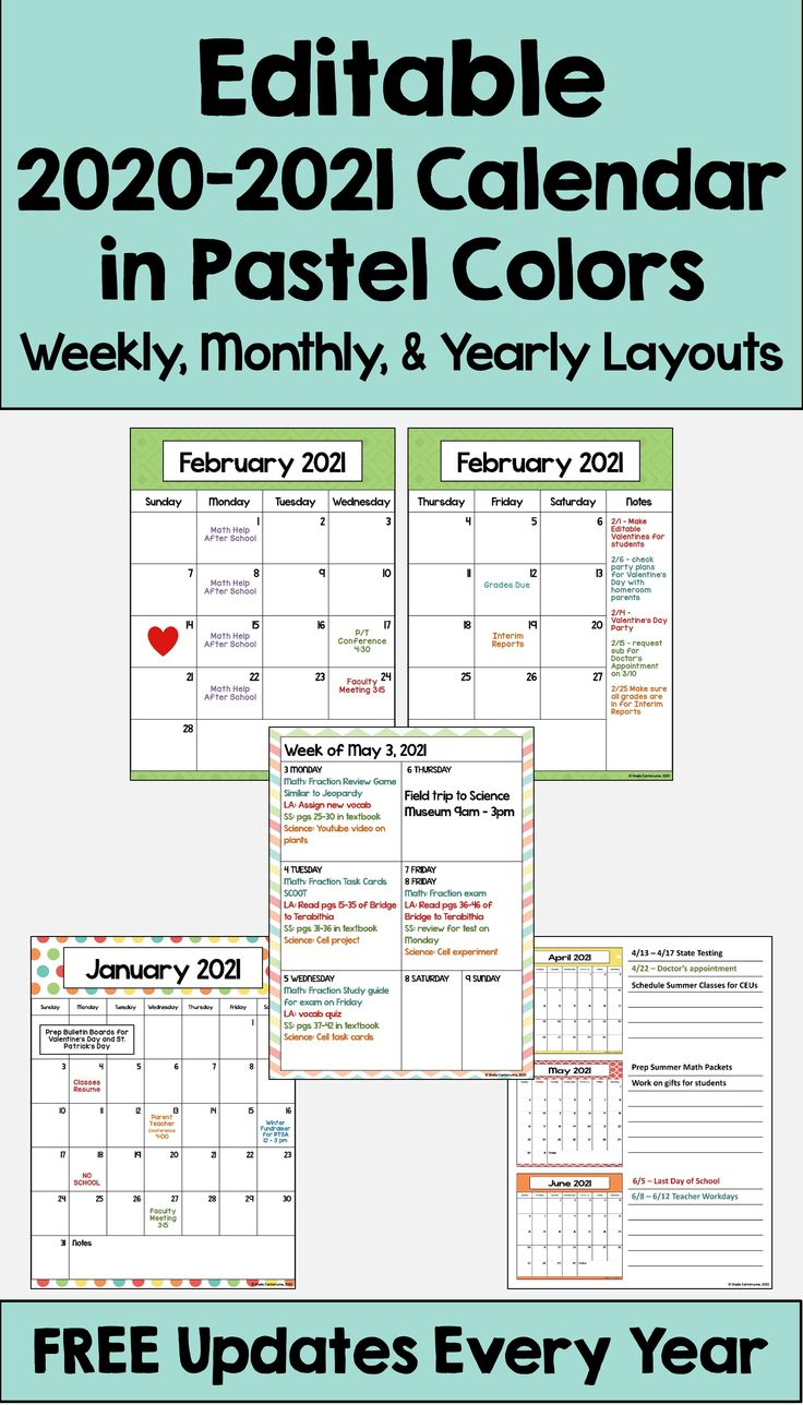 2021-2022 Editable Pastel Calendar And Planner With