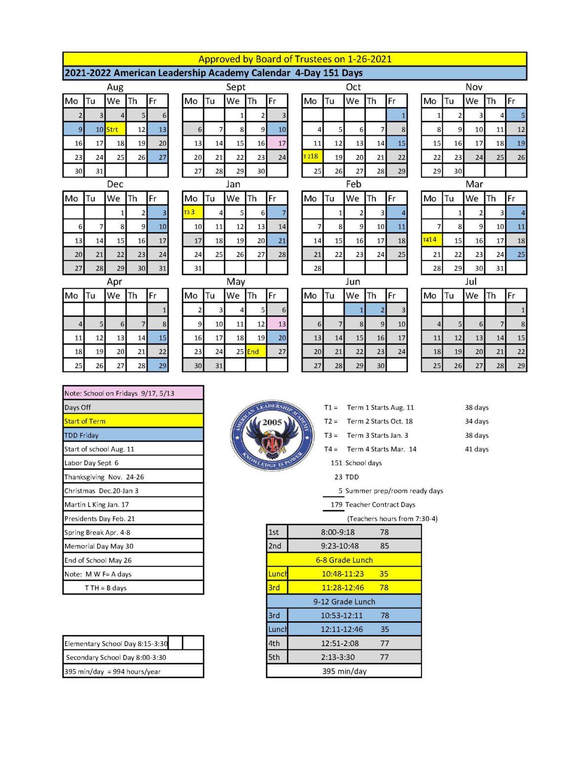 2021-2022 School Calendar | American Leadership Academy