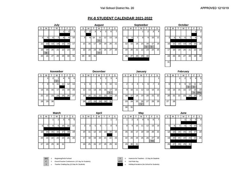 2021-2022 Student Calendars | Vail School District