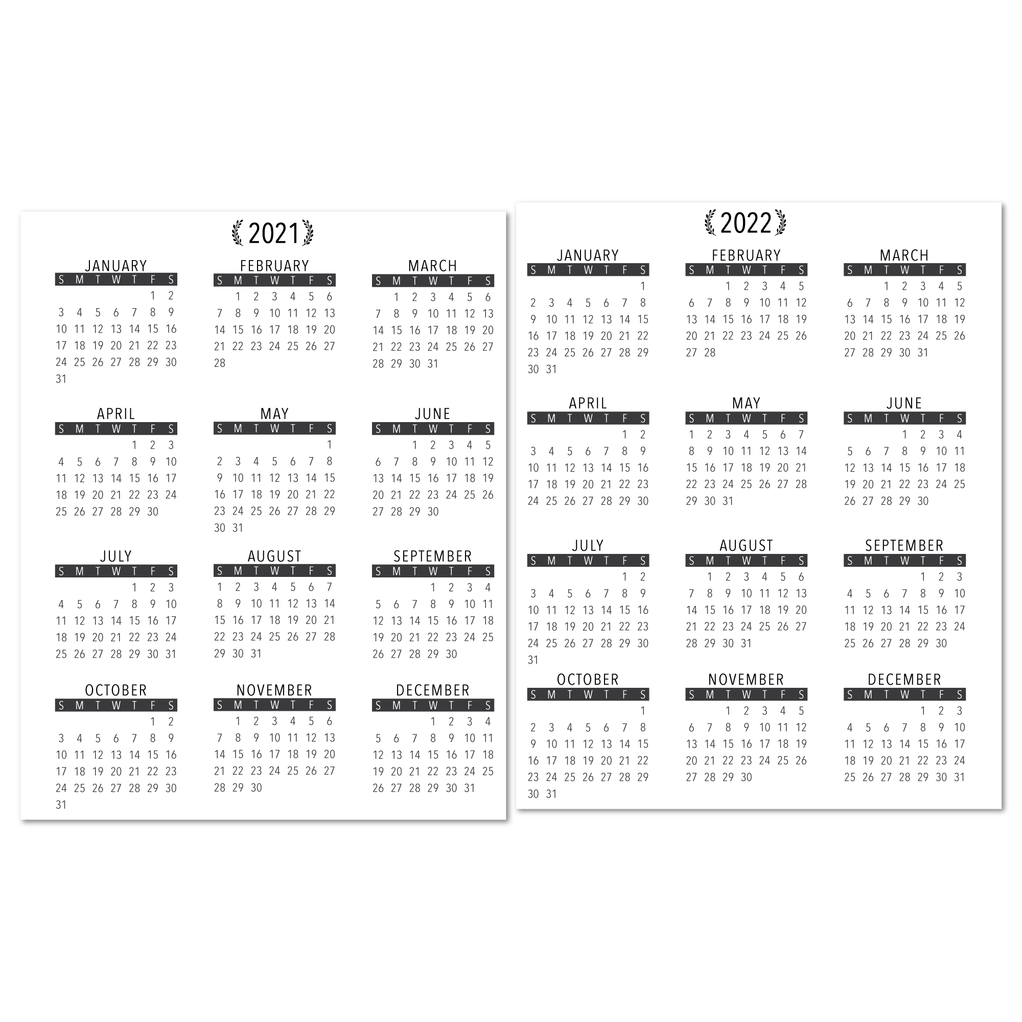 2021-2022 Year At A Glance Calendar With Lamination