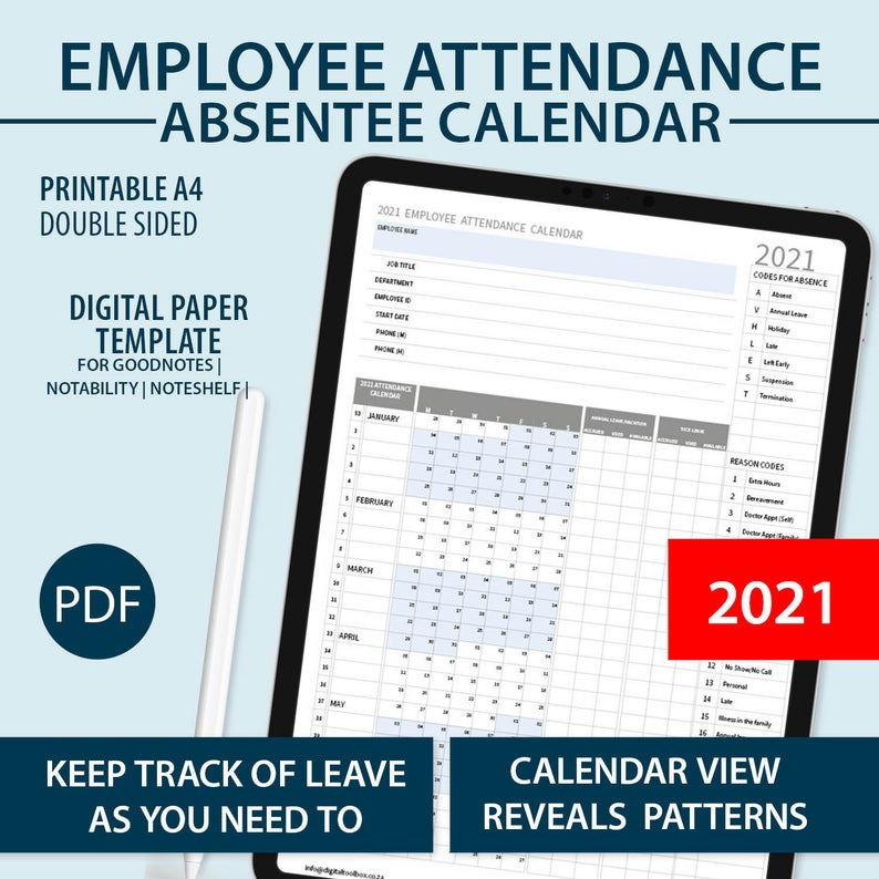 2021 A4 Printable Employee Attendance Absentee   Etsy
