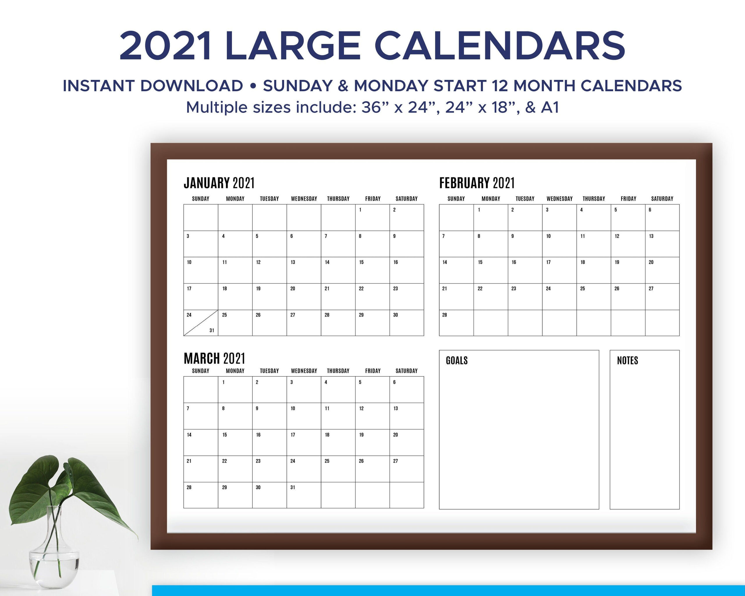 2021 And 2020 Printable, Modern, Large Format, Quarterly