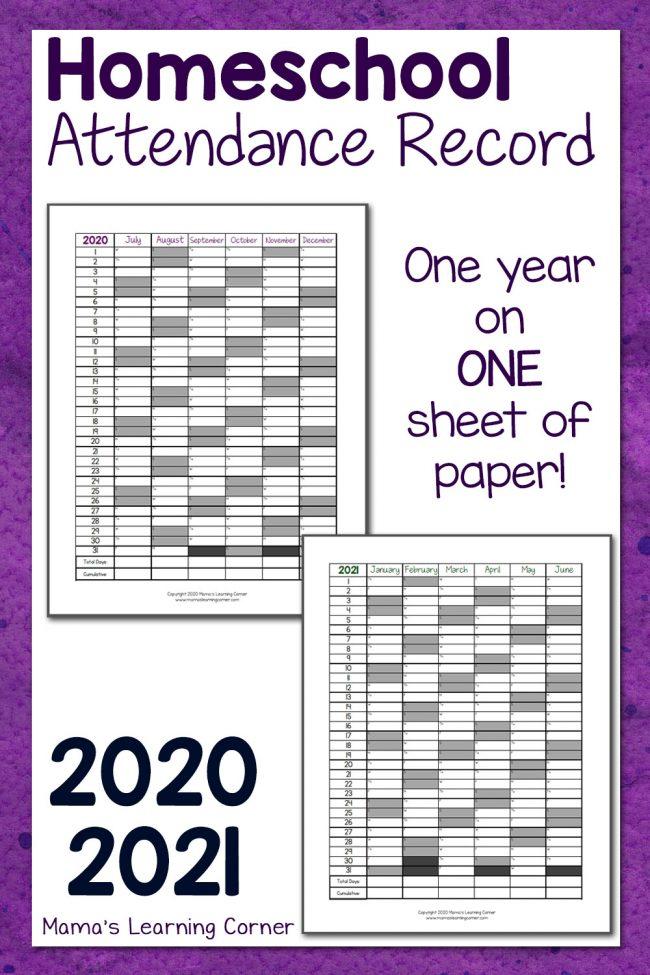 2021 Attendance Calendar Printable Free