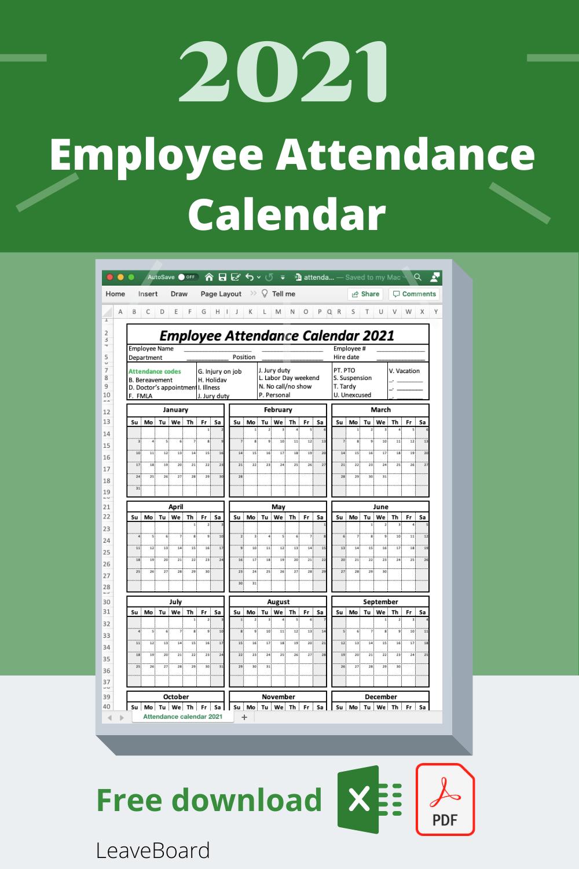 2021 Attendance Tracker   Example Calendar Printable