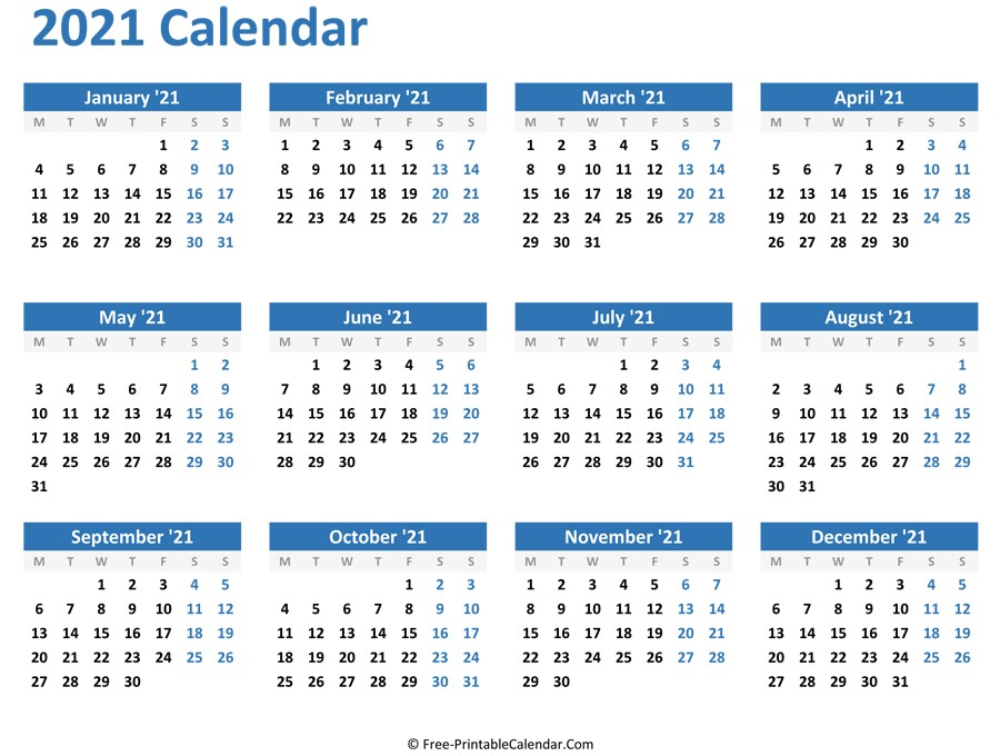 2021 Blank Yearly Calendar Full Page For Adult | Free