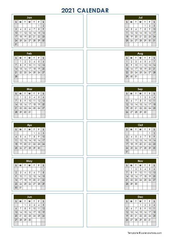 2021 Blank Yearly Calendar Template Vertical Design - Free