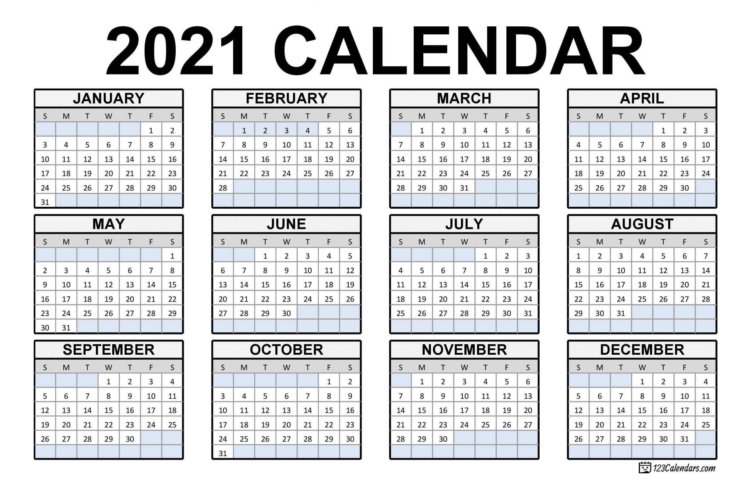 2021 Calendar Dates Print Off | Calendar Template Printable
