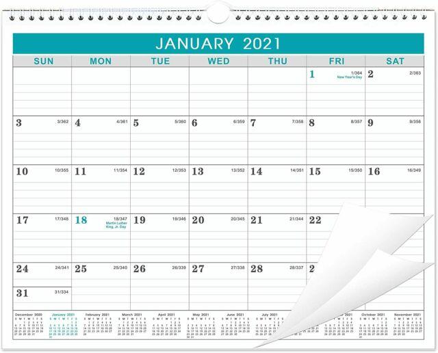 2021 Calendar Monthly Wall Calendar With Julian Date Thick