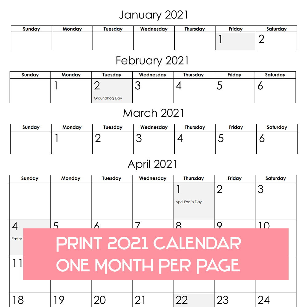 2021 Calendar One Month Per Page - Us Holidays 12 Month Pdf