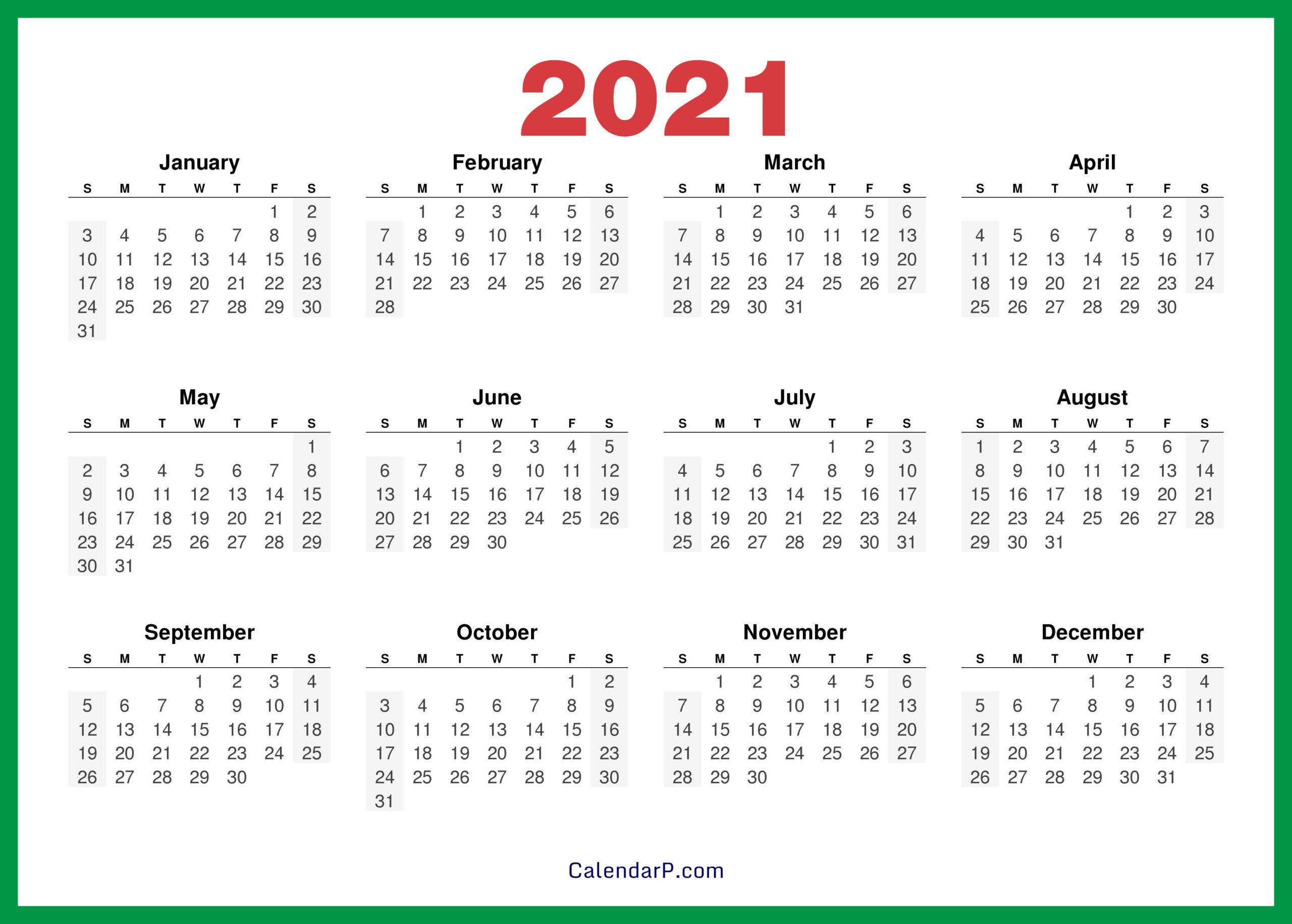 2021 Calendar Printable Free, Hd - Green - Calendarp
