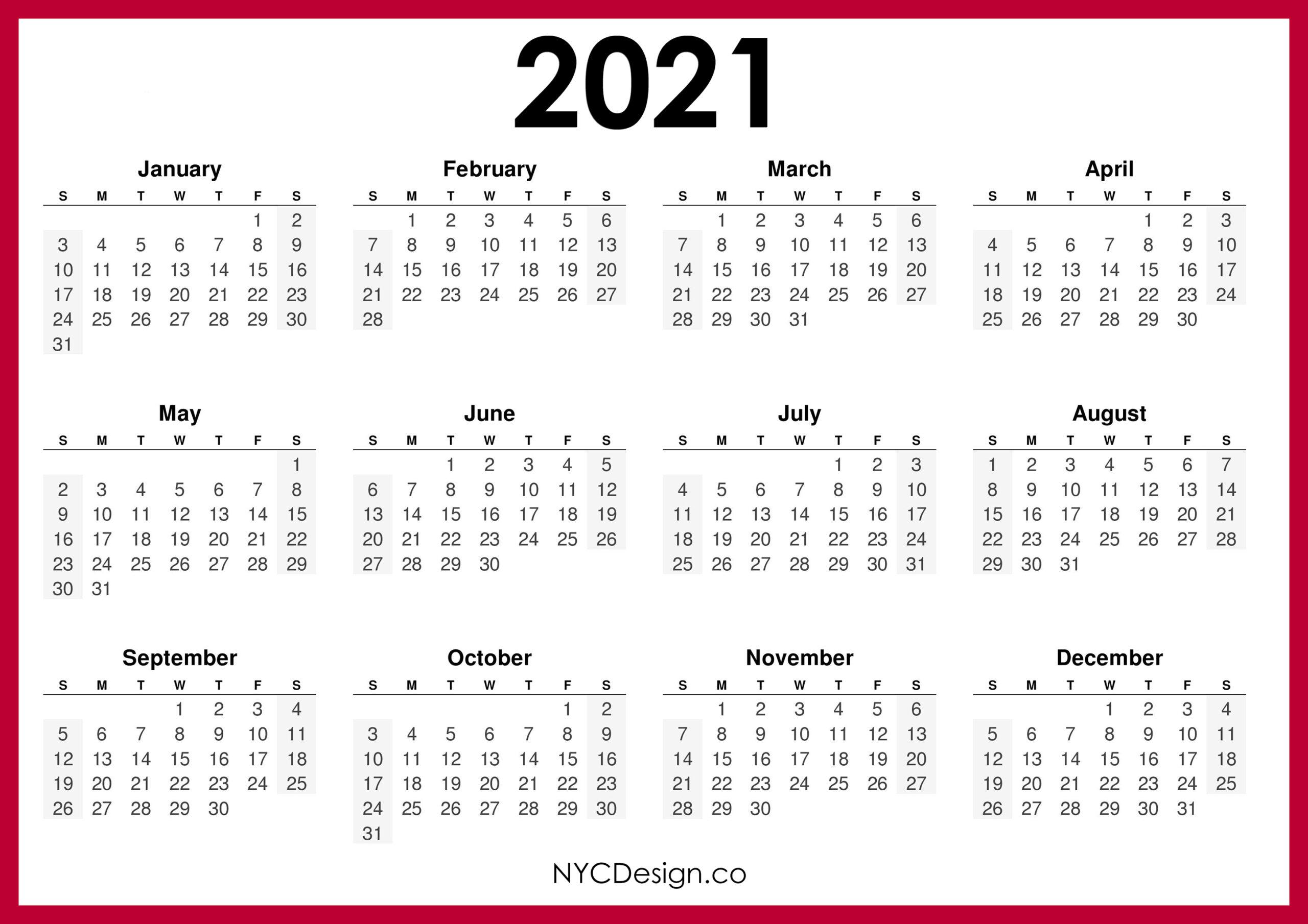 2021 Calendar Printable Free, Horizontal, Red, Hd - Sunday