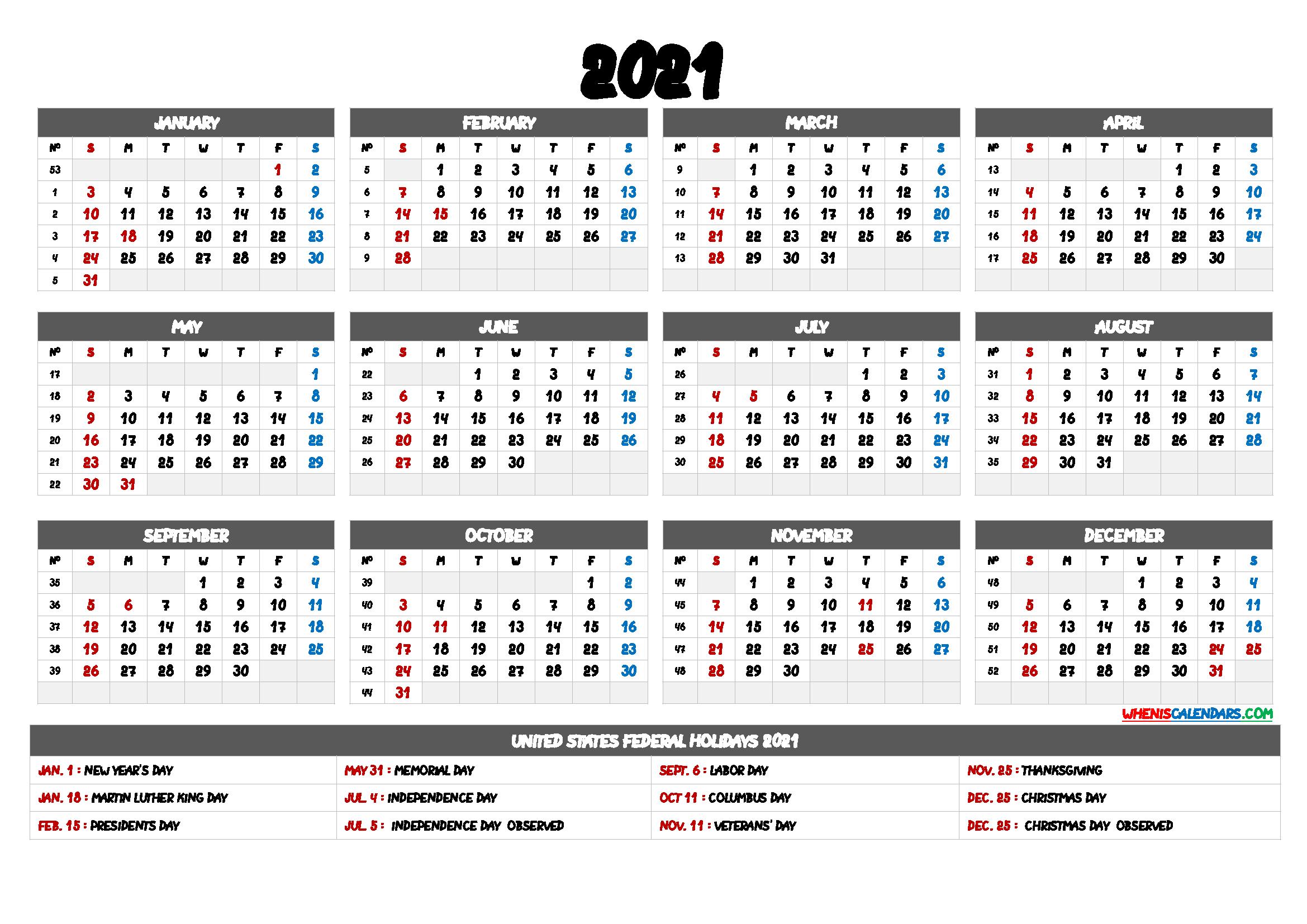 2021 Calendar Printable Pdf - 6 Templates - Free Printable