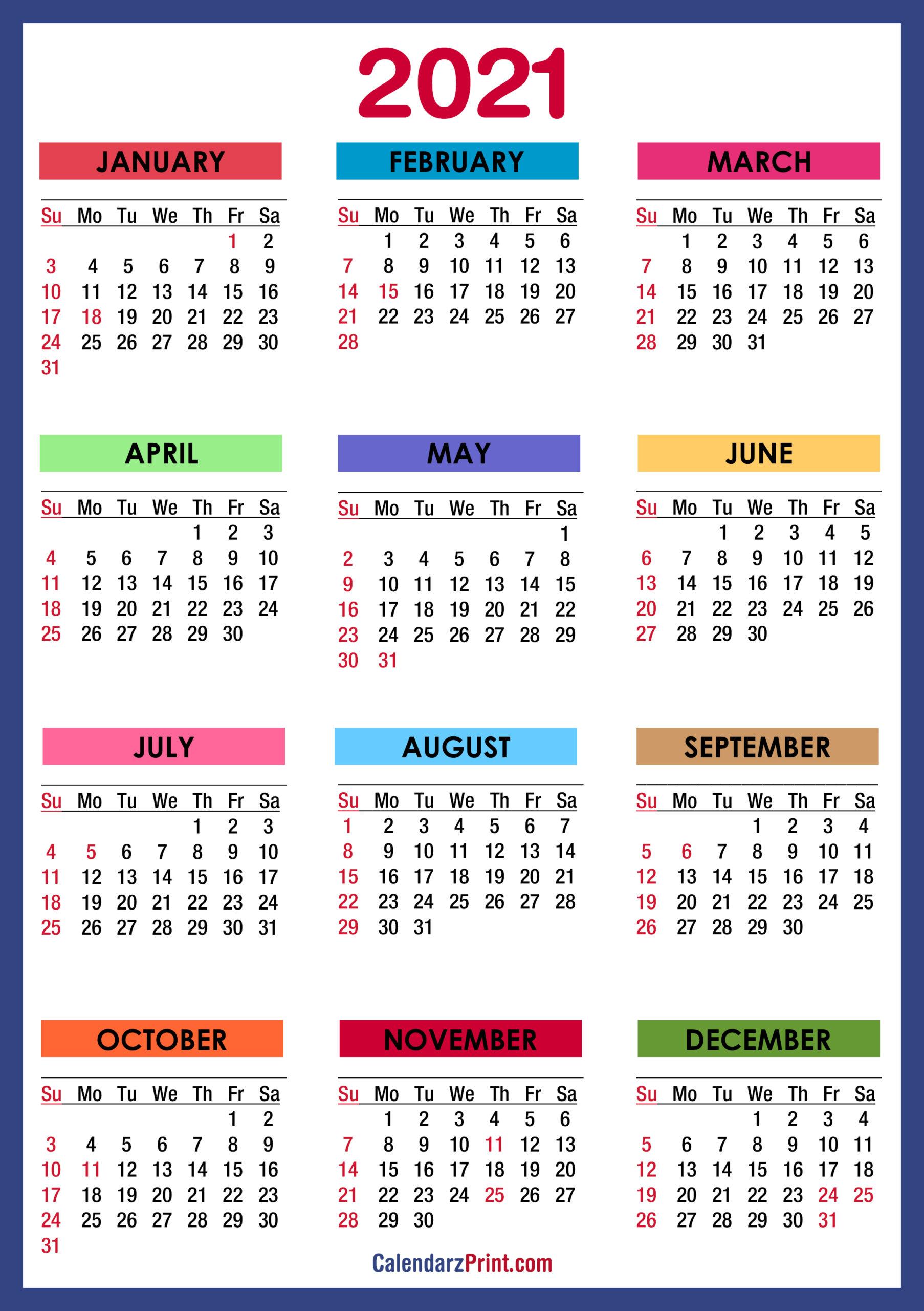 2021 Calendar Printable Pdf With Holidays | 2021 Printable