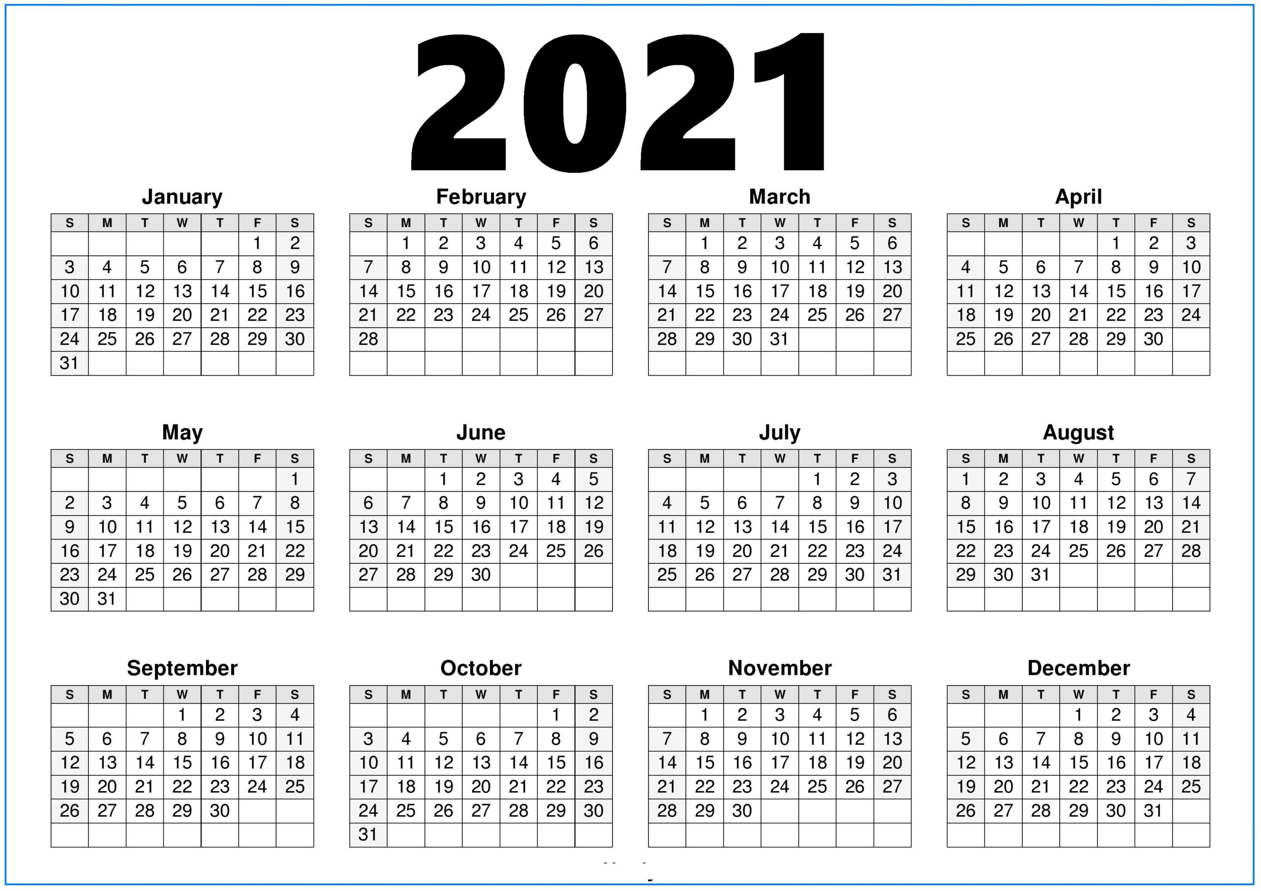 2021 Calendar Printable With Holidays - Printable Calendar