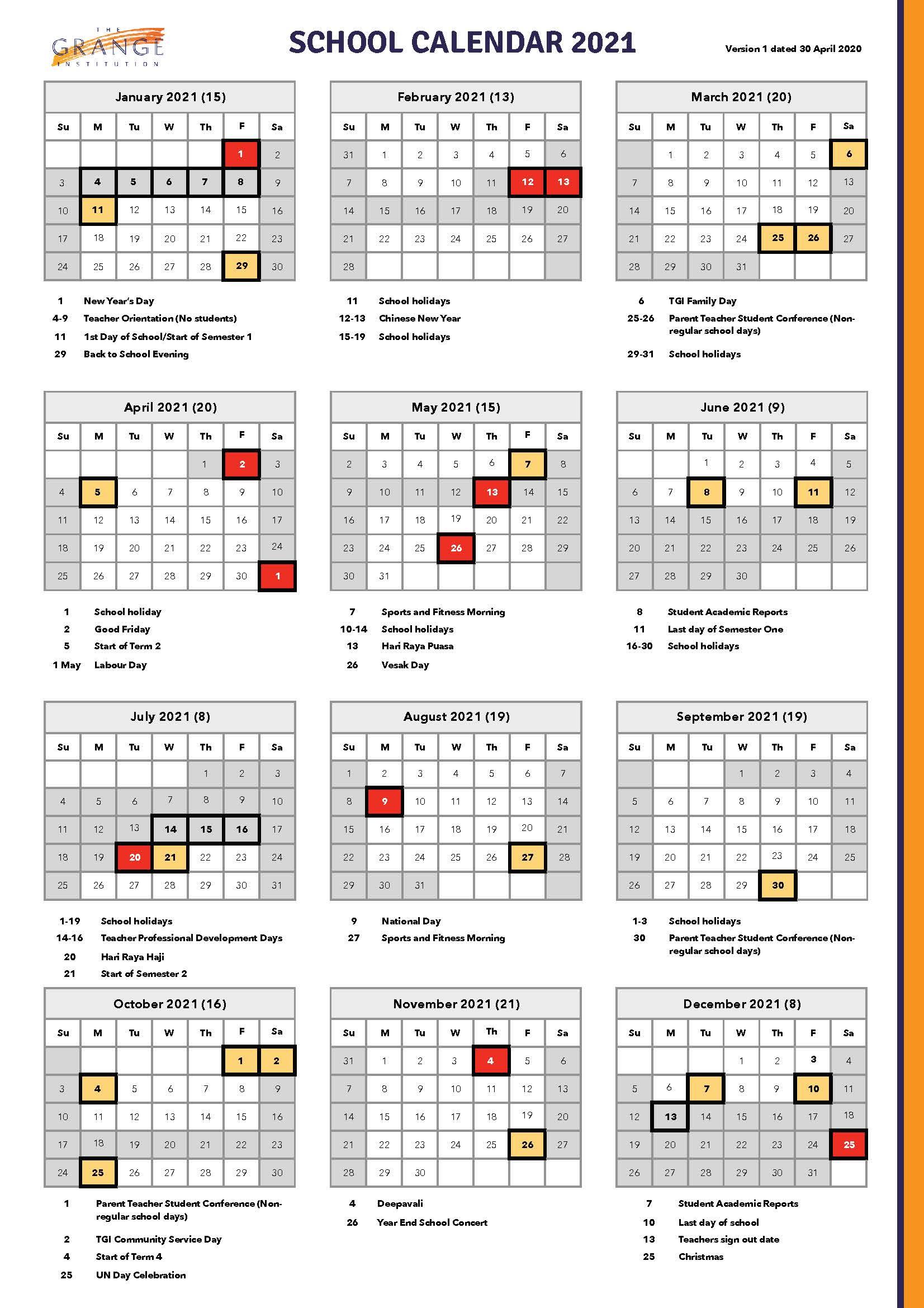 2021 Calendar Singapore | Printable Calendars 2021