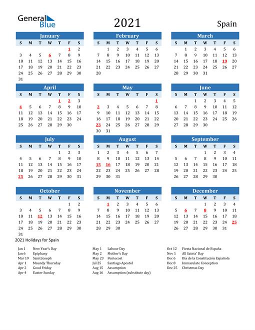 2021 Calendar - Spain With Holidays