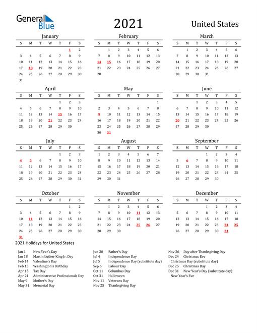 Free Printable 2021 Calendar With Holidays Us