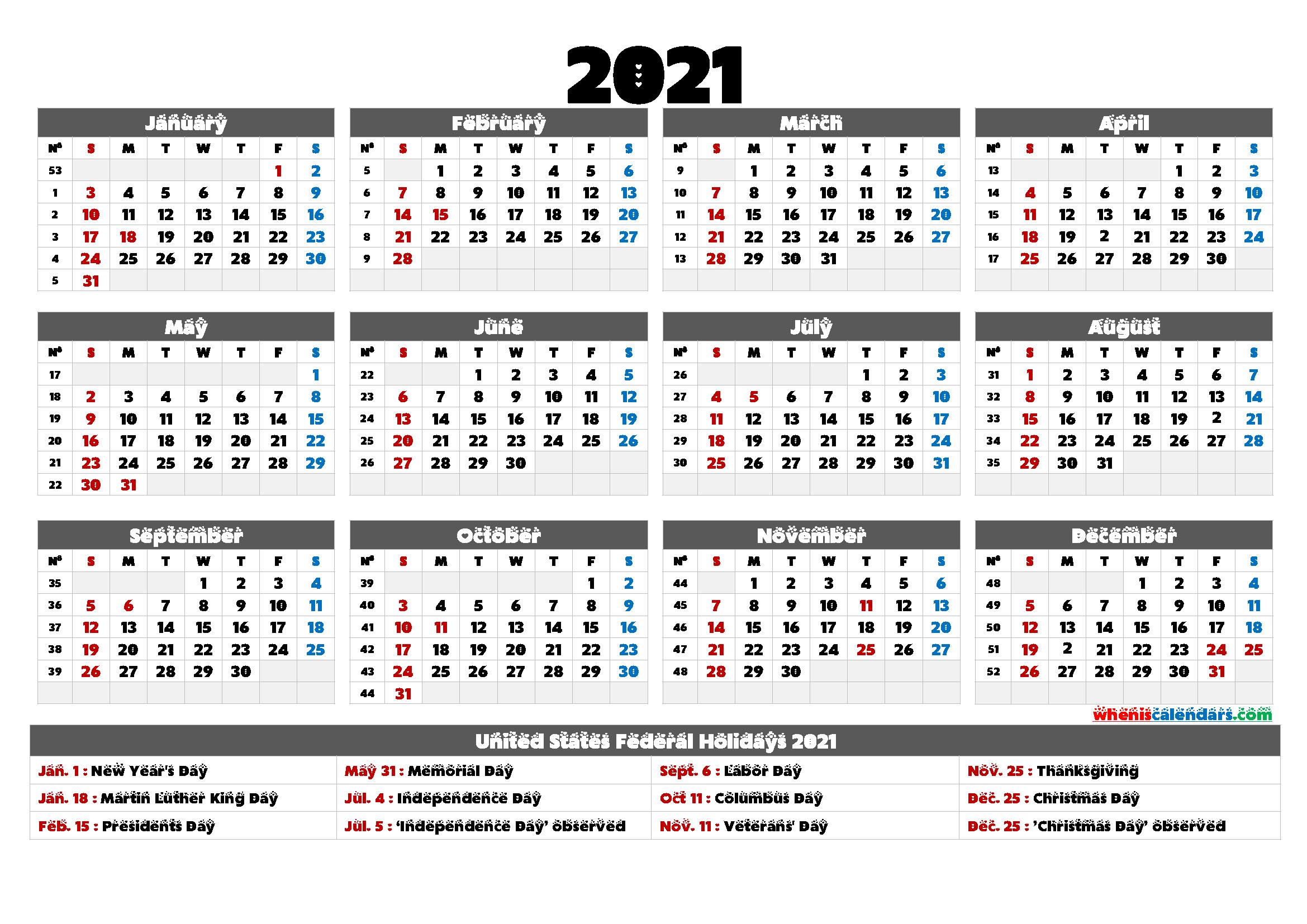 2021 Calendar With Holidays Printable - 6 Templates | Free