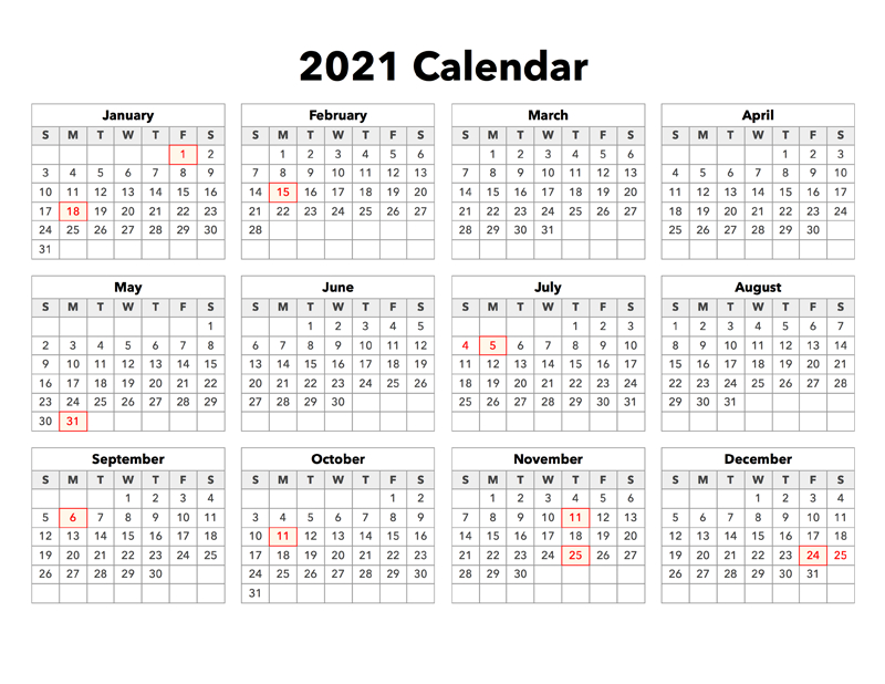 2021 Calendar With Holidays (United States) - Calendar Options