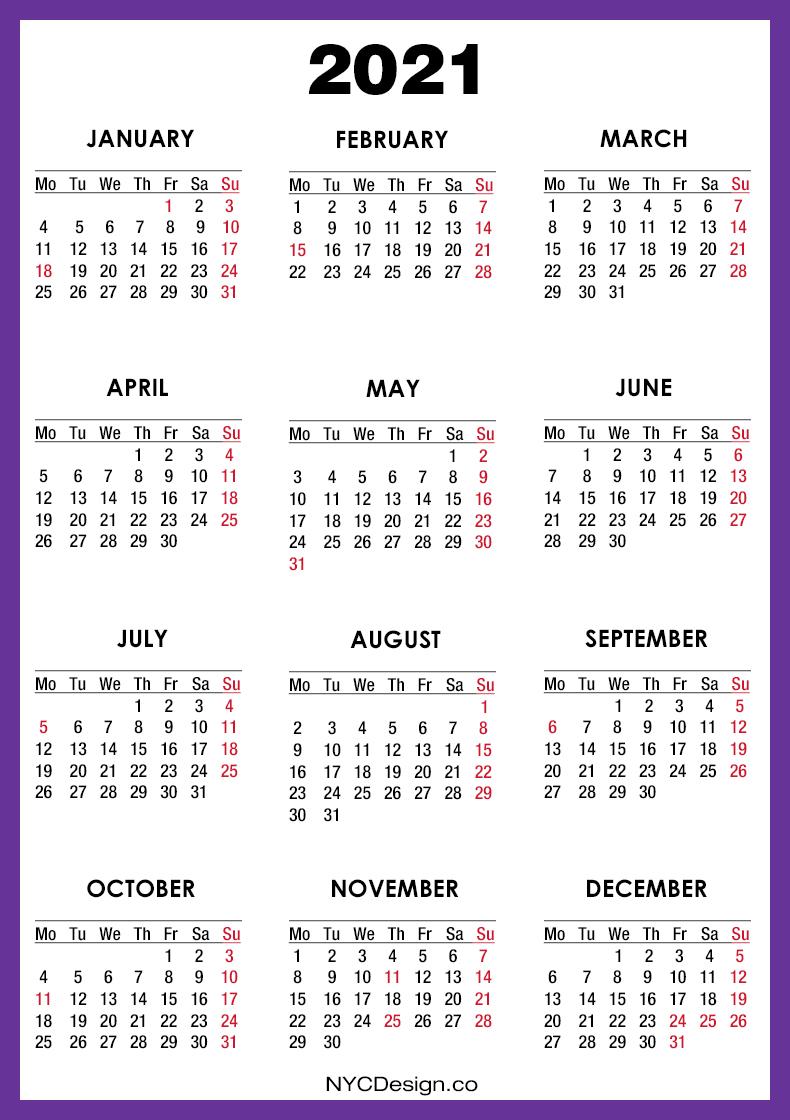 2021 Calendar With Us Holidays, Printable Free, Purple