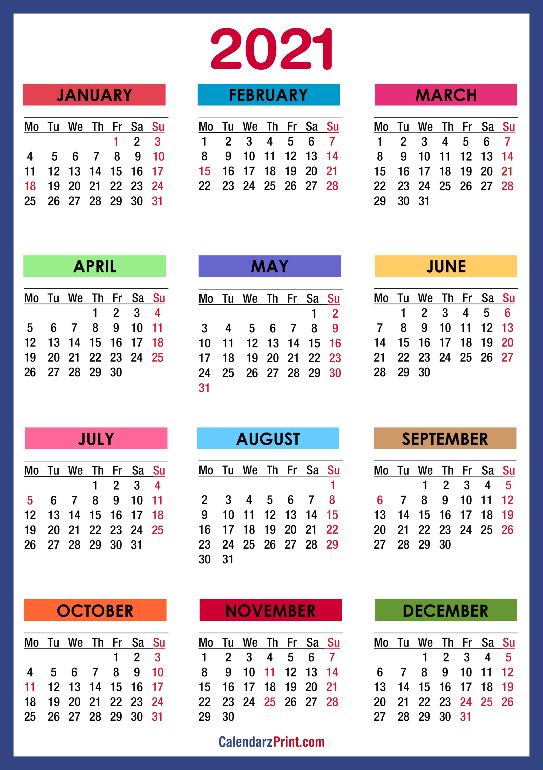 2021 Calendar With Us Holidays Printable Pdf | 2021 Printable Calendars