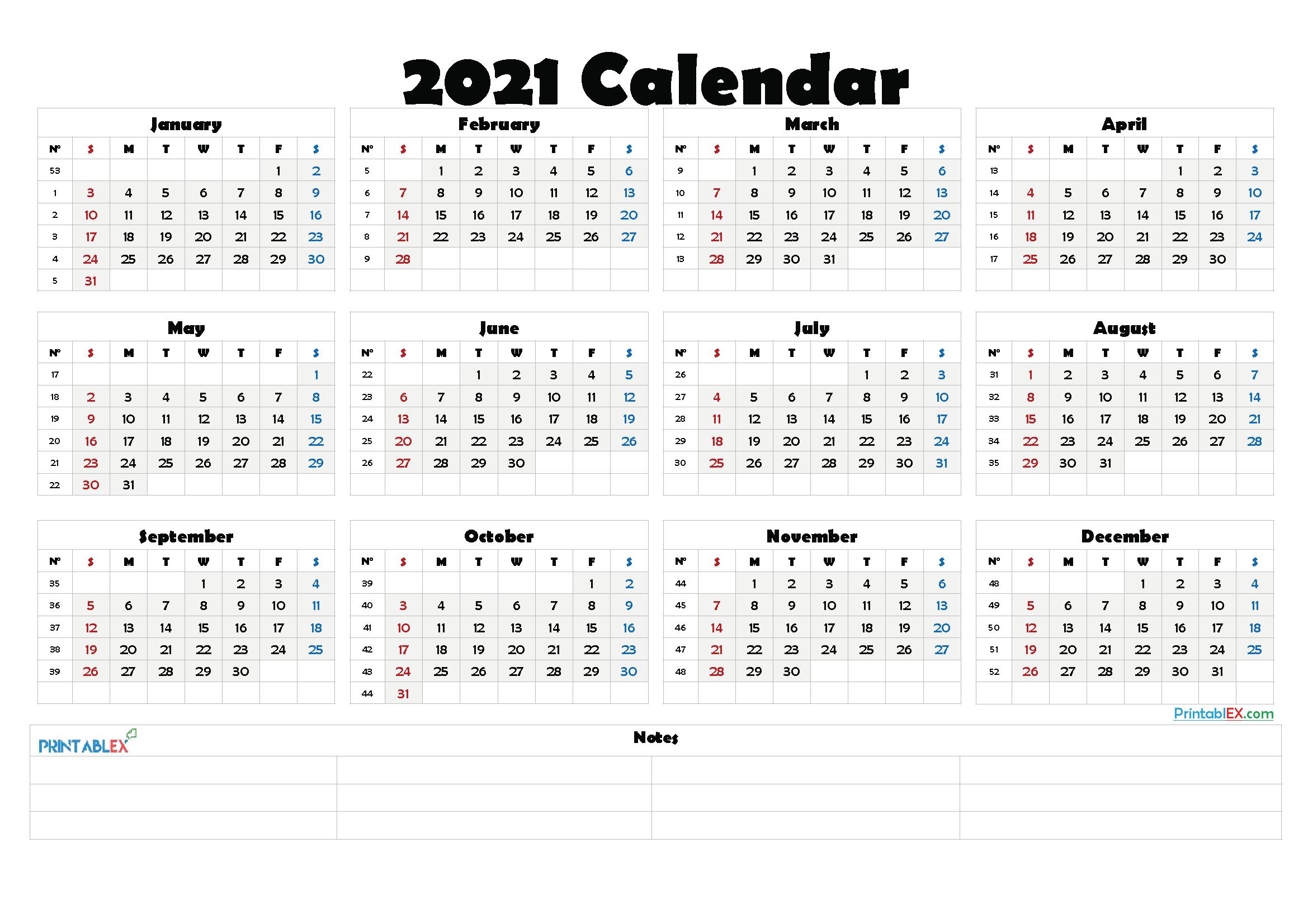2021 Calendar With Week Number Printable Free / 2021 Free