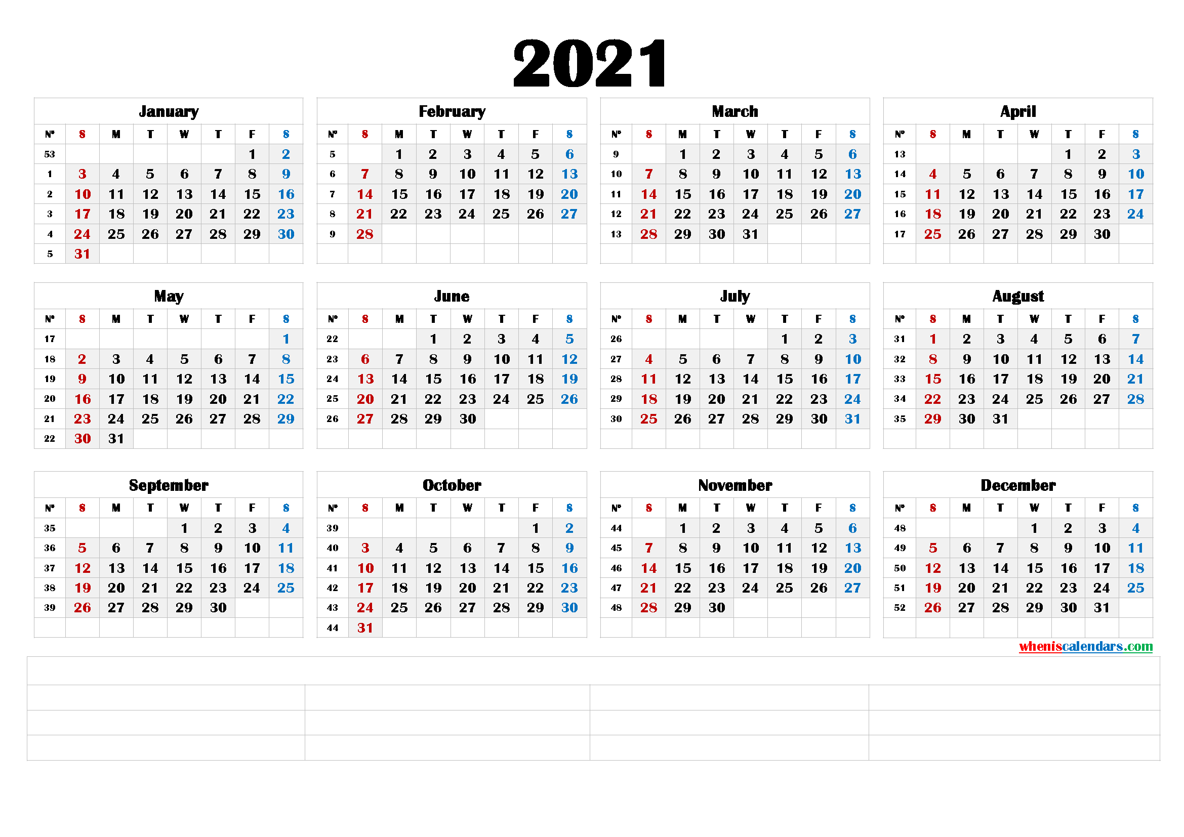 2021 Calendar With Week Number Printable Free : Week