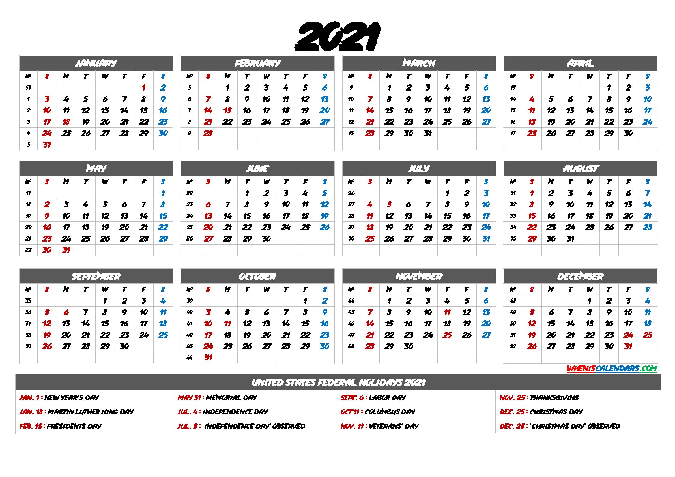 2021 Calendar With Week Numbers - 9 Templates - Free 2020