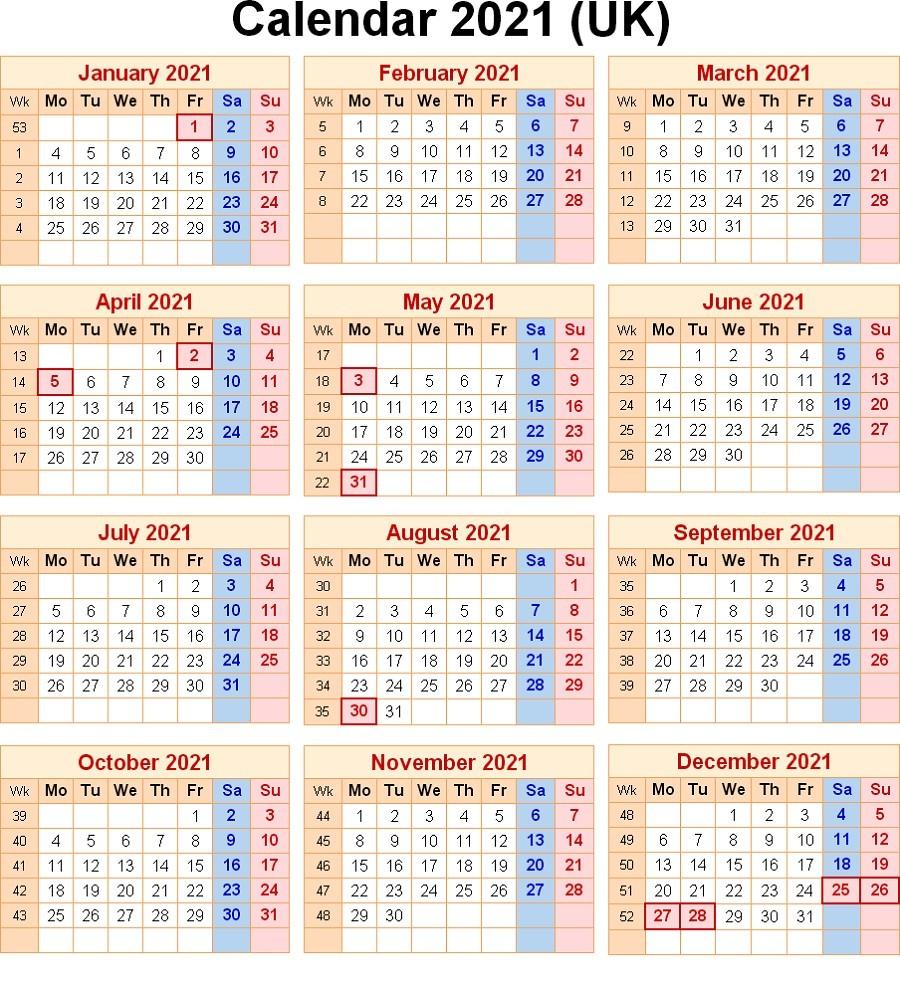 2021 Calendar With Week Numbers Excel Full   Free