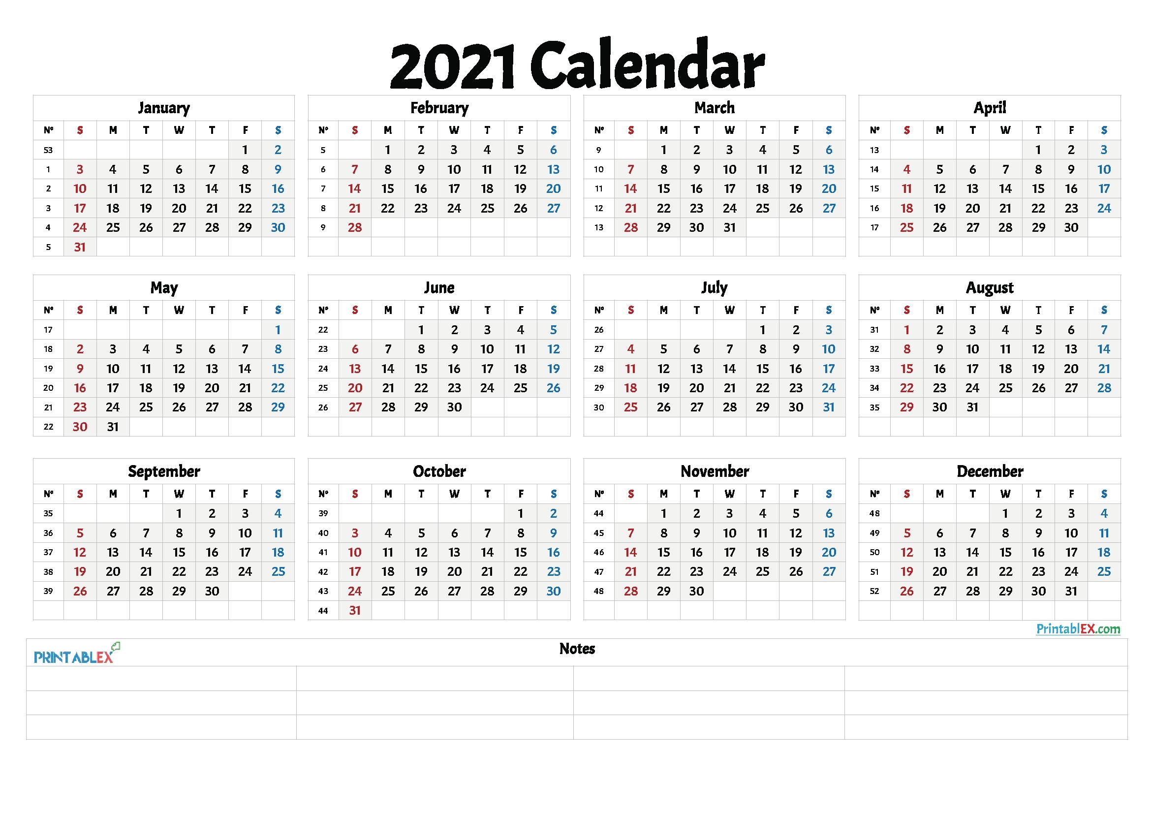 2021 Calnder By Week No Excel | Calendar Template Printable