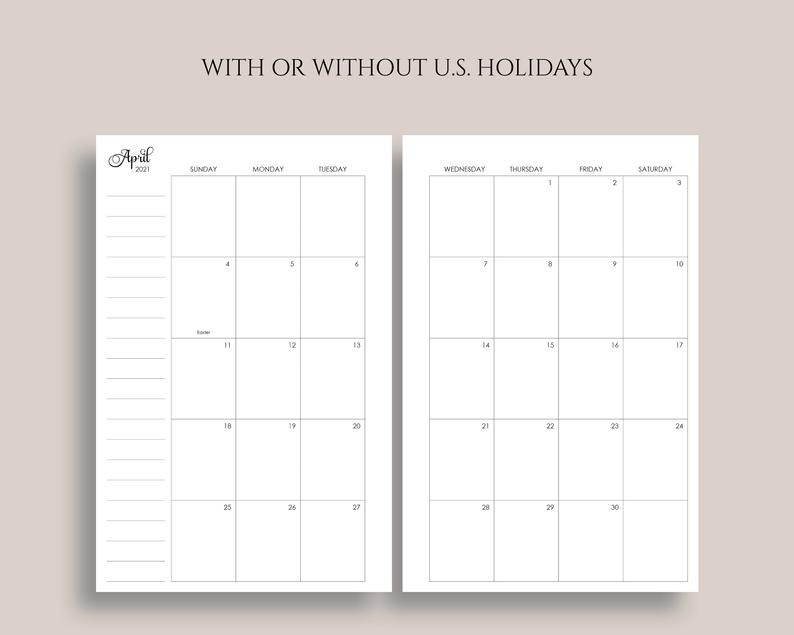 2021 Dated Monthly Calendar Printable Planner Inserts