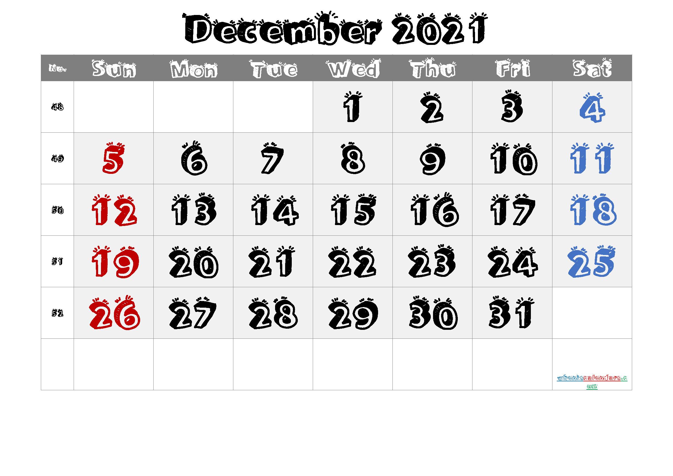 2021 December Free Printable Calendar - 6 Templates | Free Printable 2020 Monthly Calendar With